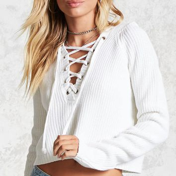 Lace-Up Hooded Sweater
