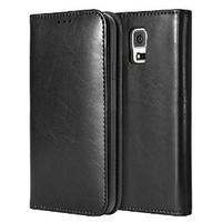 Moon Monkey Luxury Business Genuine Leather Stand Function Folio Case for Samsung Galaxy S5 with Built-in Card Slot (Black)