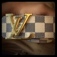 LV Woman Fashion Smooth Buckle Belt Leather Belt H Z