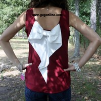 Bow Me Away Top in Maroon and Ivory