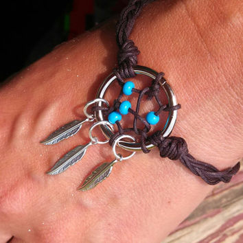 Dream Catcher Bracelet or Anklet Turquoise Beaded with Silver Feathers