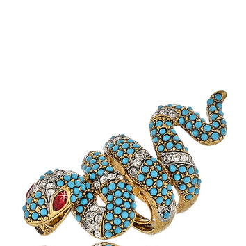 KENNETH JAY LANE GOLD Turquoise Snake Ring - ACCESSORIES | JEWELRY | Rings | PRET-A-BEAUTE.COM