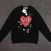 Women Men's CDG Play Fashion Long Sleeve T-Shirt Black