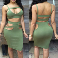Green Sexy Spaghtti Strap Hollow out two pieceSkirt Set