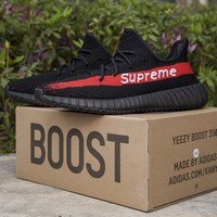 Best Online Sale Kanye West x Adidas Yeezy Boost 350 v2 Black Red Running Shoes