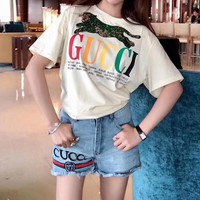 """Gucci"" Women Casual Fashion Sequin Panther Multicolor Letter Print Short Sleeve T-shirt Top Tee"