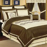 8pc PV. Beige/ Choco  Comforter Set Size: Cal King