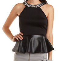Embellished Faux Leather Peplum Top by Charlotte Russe