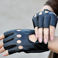 Fashion Half Finger Driving Women Gloves 1 Pcs PU Leather Fingerless Gloves For Women Black (Color: Black) = 1958115716