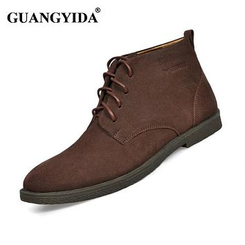 New Fashion Men boots Genuine Suede leather shoes Autumn Winter shoes Martin boots men shoes work boots plus size ST14
