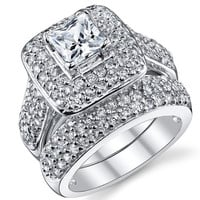 1 Carat Princess Cut CZ Sterling Silver 925 Wedding Engagement Ring Band Set = 1932543812