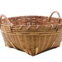 Antique Split Bamboo Laundry Basket with Handles 1900s Old Wash Day Basket Storage Crafting Knitting Cottage Chic Farmhouse Decor