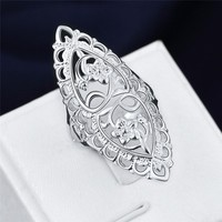Fashion Cute 925 Sterling Silver Filled Hollow Big Ring Ladies Finger Jewelry Gift Gift 111901