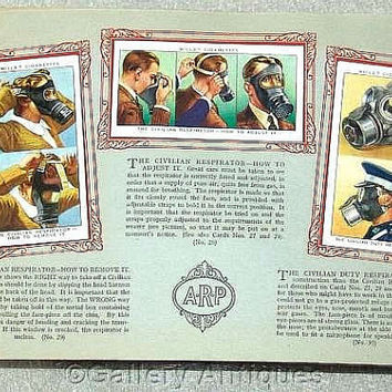 Air Raid Precautions Full Set of 50 Cigarette Cards in Original Album by W. D. & H. O. Wills Issued in 1938 (ref: 3190)