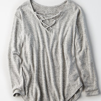 AEO Soft & Sexy Plush Lace-Up V-Neck Sweatshirt, Heather Gray