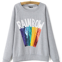 Casual Sequined Rainbow Printed Long-Sleeved Sweatshirts