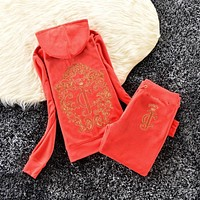 Juicy Couture Studded Logo Crown Velour Tracksuit 6129 2pcs Women Suits Red