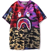 Bape shark head camouflage multi-layer stitching T-shirt