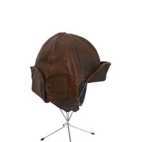 Vintage Leather Helmet Men's Aviator Pilot or Motorcycle Hat Chocolate Brown with Cloth Interior and Buckle Chin Strap  - Vintage Steampunk