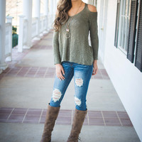 Chill In The Air Cold Shoulder (OLIVE)