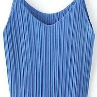 Blue Pleated Strap Top
