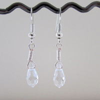 Clear crystal earrings , tiny lightweight drop earrings with wire wrapped clear crystal beads , handmade in the UK