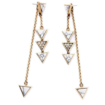 Geometric Triangle and Chain Ear Jackets -Marble White
