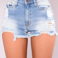 Baby Girl Denim Shorts - Light Blue
