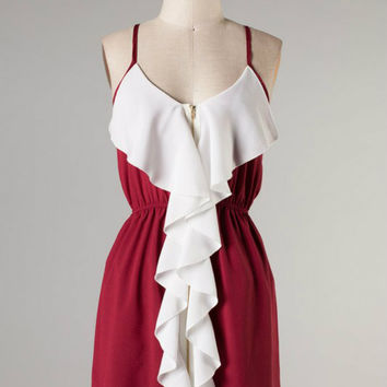 Ruffle Touch Down -- Crimson/Ivory