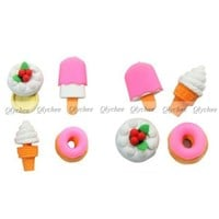 Kawaii Korean Stationery Fast Food Set Chips Donut Novelty Eraser Erase Gift