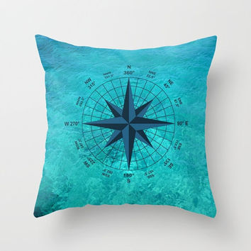 Decorative Throw Pillow - 4 different sizes to Choose From, With or Without Inserts, Indoors, Outdoors, Turquoise, Abstract, Compass, Ocean