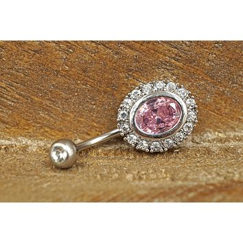 Pink Crystal Belly Button Ring