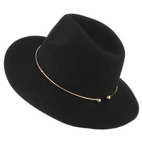 2017 New Women Wool Fedoras With Metal Ring Wide Brim Panama Hat Winter Warm Jazz Caps Elegant Lady Church Hat Sombrero