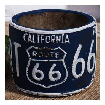 America Vintage 66 Route Car Plate Ashtray Succulent Pot     blue
