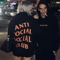 Anti Social Social Club Women Casual Pullover Tops Hoodie Sweater