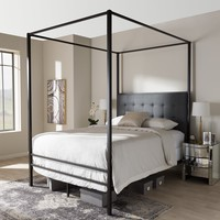 Baxton Studio Eleanor Vintage Industrial Black Finished Metal Canopy Queen Bed Set of 1