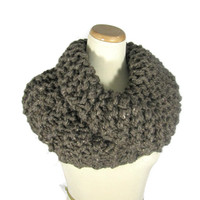 Outlander Inspired Cowl, Chunky Cowl, Hand Knit Scarf, Brown, Barley, Circle Scarf, Winter, Women, Fiber Art