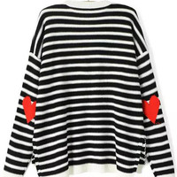 Fall Fashion Black White Long Sleeve Striped Heart Print Sweater