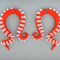 Octopus Tentacles Earrings / Fakers - Faux Gauges and Earrings for Stretched Lobes or Ear Plugs - Gauges, Red Gauges | 81321