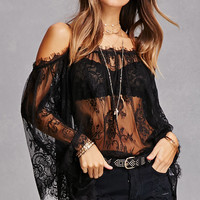 Sheer Lace Open-Shoulder Top