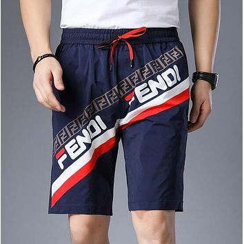 FENDI Summer Newest Fashionable Men Comfortable Print Sport Shorts Blue