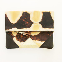 SUNSET 15 / Shibori dyed cotton & Natural leather folded clutch bag - Ready to Ship