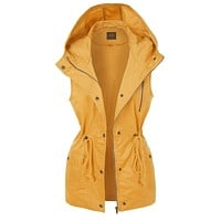 Hooded Anorak Vest with Drawstring Waist (CLEARANCE)