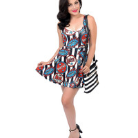 Black & White Striped Sideshow Graphic Print Skater Flare Dress