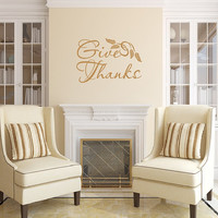 Wall Decal Give Thanks Thanksgiving Removable Vinyl Wall Decal Decor 22456