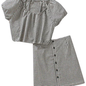 Monochrome Plaid Short Sleeve Crop Top And Pencil Skirt