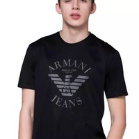 Armani 2019 new personality printing casual fashion men's round neck short-sleeved T-shirt black