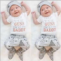 3pcs Toddler Baby Boys Girls Cotton T-Shirt Short Sleeve Pants Hat Casual Clothes Outfits Set