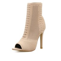 High Heels Shoes Woman Knitting Peep Toe Cut-outs Ankle Booties