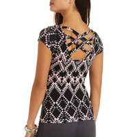 TRIBAL PRINT CAGED-BACK CAP SLEEVE TEE